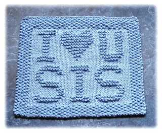 I Love U Sis Dishcloth pattern by Rachel van Schie