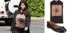Kim Kardashian è stata fotografata con il top in seta di Givenchy con la stella stampata. Un top casual abbinato a delle ballerine nere di Balenciaga.  http://www.sfilate.it/187270/kim-kardashian-con-il-top-di-givenchy-e-scarpe-balenciaga