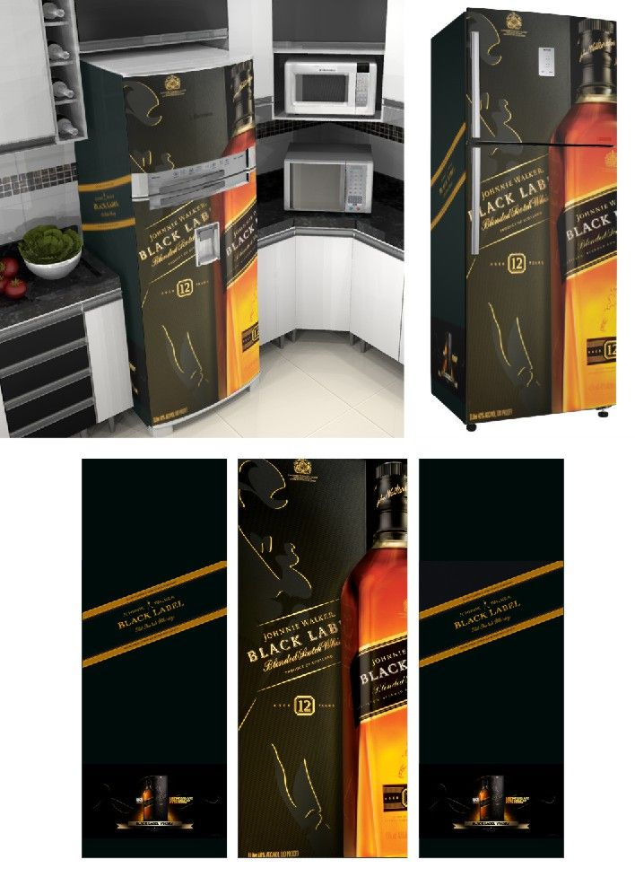 Adesivo Envelopamento de Geladeira JW040 Black Label