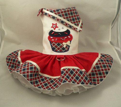 Dog Dress.Patriotic Cupcake By Poshdog. Tutu Skirt. By Poshdog
