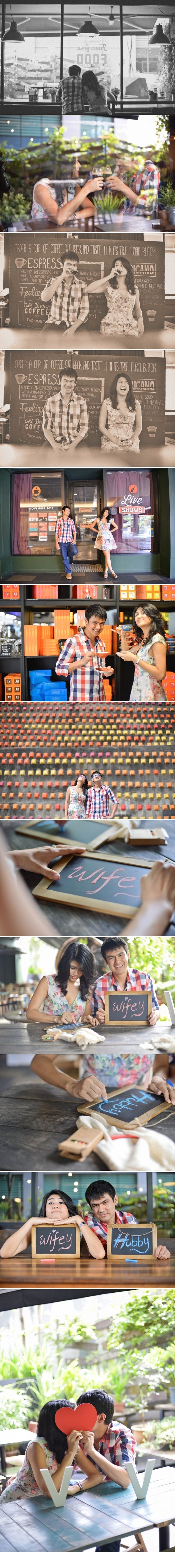 Cute lifestyle engagement shot at the coffee shop // PreWedding photos // Andrew Yep Photographie http://www.onethreeonefour.com/listing/AndrewYepPhotographie