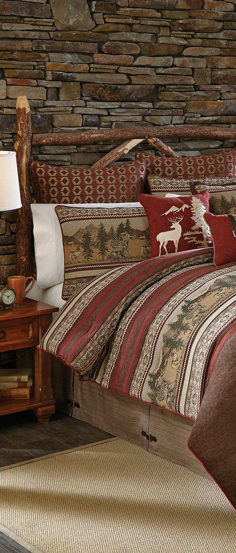 Rustic cabin furniture - Croscill Log Cabin Bedding