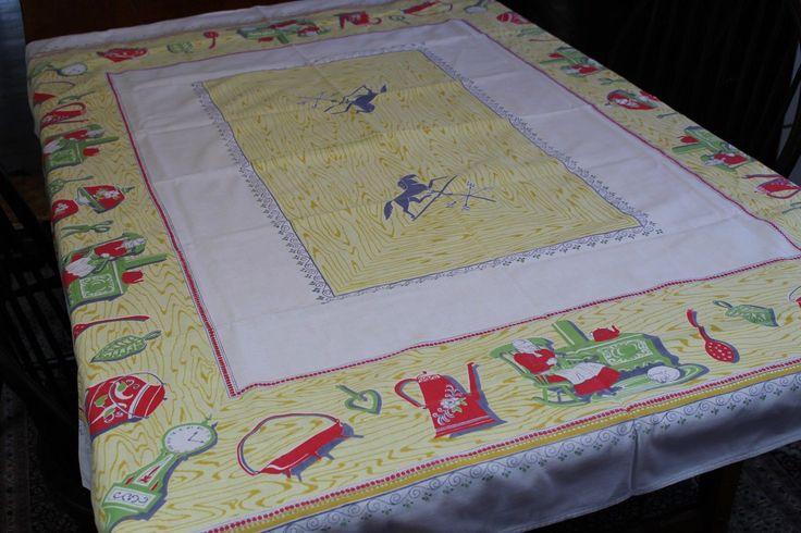 Vintage Cotton Kitchen Tablecloth 52x64 Country Kitchen | eBay