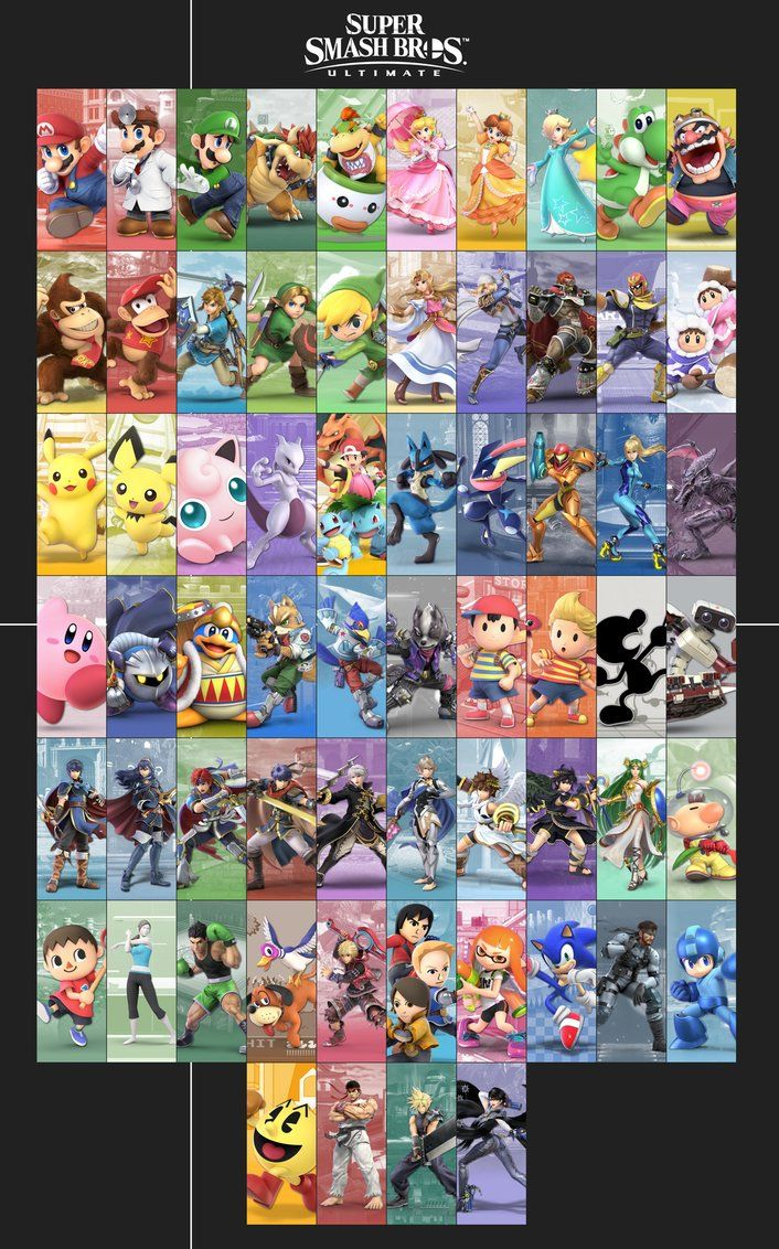 Super Smash Bros  Ultimate - Roster by Kaiology | Smash brothers