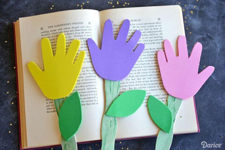 Hand Print Flower DIY Bookmarks for Kids