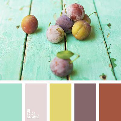 amarillo y marrón, amarillo y rosado, amarillo y violeta, color azul ciruela aberenjenado, color mentolado, color turquesa, color verde menta, marrón pálido y verde pantano, marrón y amarillo, marrón y rosado, marrón y violeta, rosado pálido y amarillo pálido, rosado y amarillo, rosad