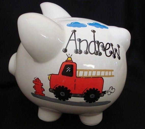 Personalized Fire Truck Piggy Bank Baby Boy Pinterest