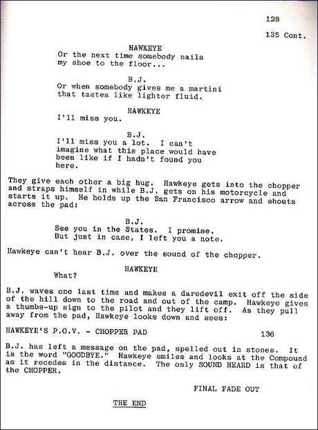 Final page of script. Goodbye. << I actually started crying as I read this... it brought back so many memories