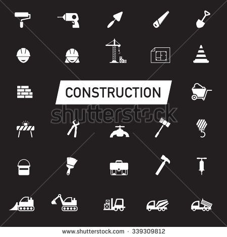 White silhouette Civil engineering, maintenance labor, excavator transport and construction site industry graphic tool equipment sign and symbol icon collection set, create by vector