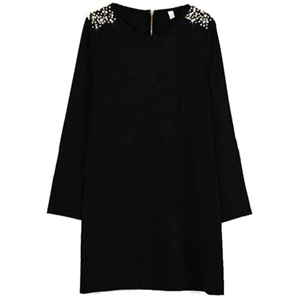 Plus Size Women Bead Long Sleeve Round Neck Zipper Dress (£15) ❤ liked on Polyvore featuring dresses, newchic, black, women plus size dresses, long sleeve print dress, sleeved dresses, plus size print dress, womens plus dresses and round neck dress