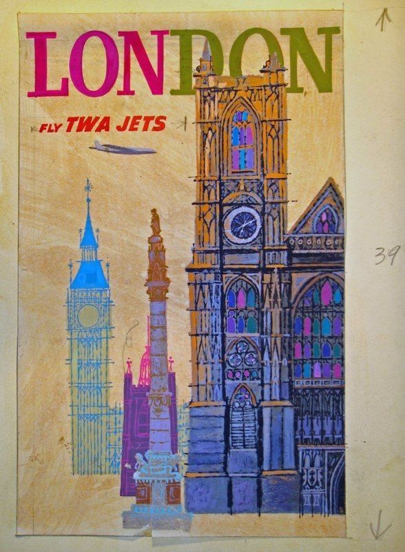 1960s TWA Poster  Colours: Vintage Posters, London Town, Travel Photos, Posters London, Twa Posters, Travel Tips, David Klein, Vintage Travel Posters, 1960S Twa