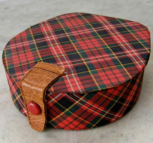Vintage Scottish tartan, leather ., jewelry box.
