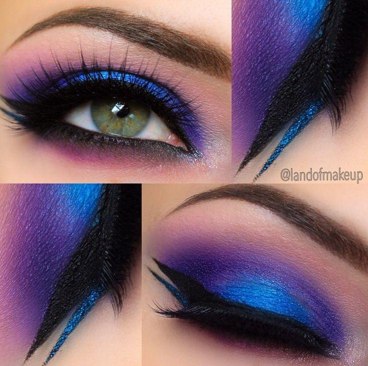 blue-purple-metallic eyeshadow with double-winged eyeliner