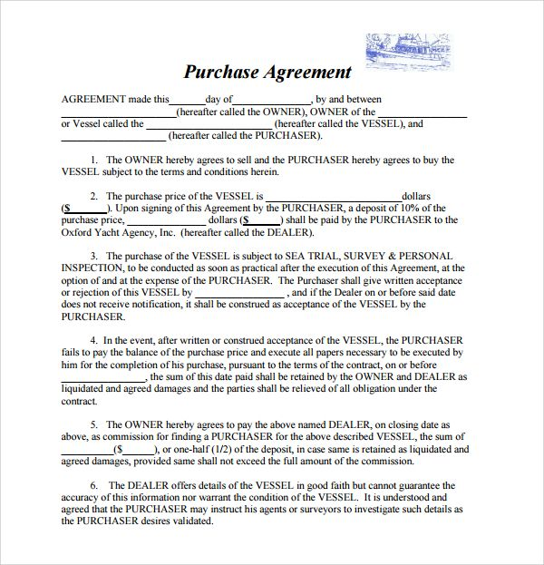 Boat Bill Of Sale Template Purchase Agreement Contract Template