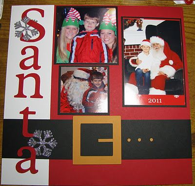Cute Santa Scrapping Page...love the look of Santa's suit & belt.  There are other easy to do ideas on this blog.
