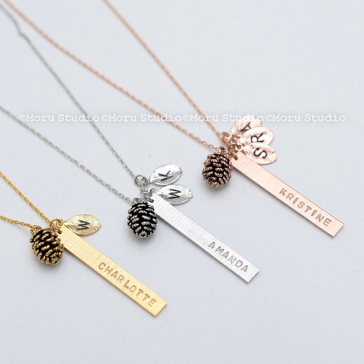 Personalized Vertical Bar Leaf Necklace, Pinecone Charm Custom Name Family Tree Necklace/ Mothers Day, Grandmother Gift, Bridesmaid 009-6 by MoruStudio on Etsy