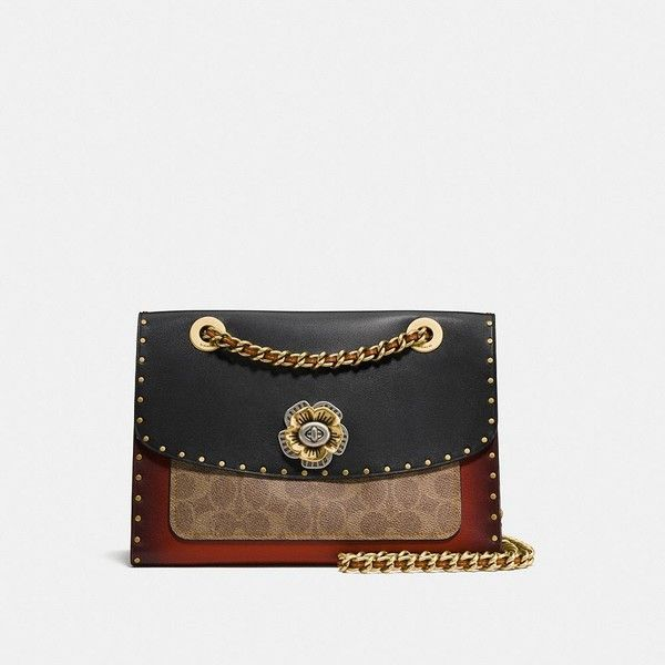 Coach Parker With Border Rivets And Snakeskin Detail (580 CAD) ❤ liked on Polyvore featuring bags, handbags, shoulder bags, lightweight shoulder bag, coach purses, snakeskin handbags, coach shoulder bag and rose purse