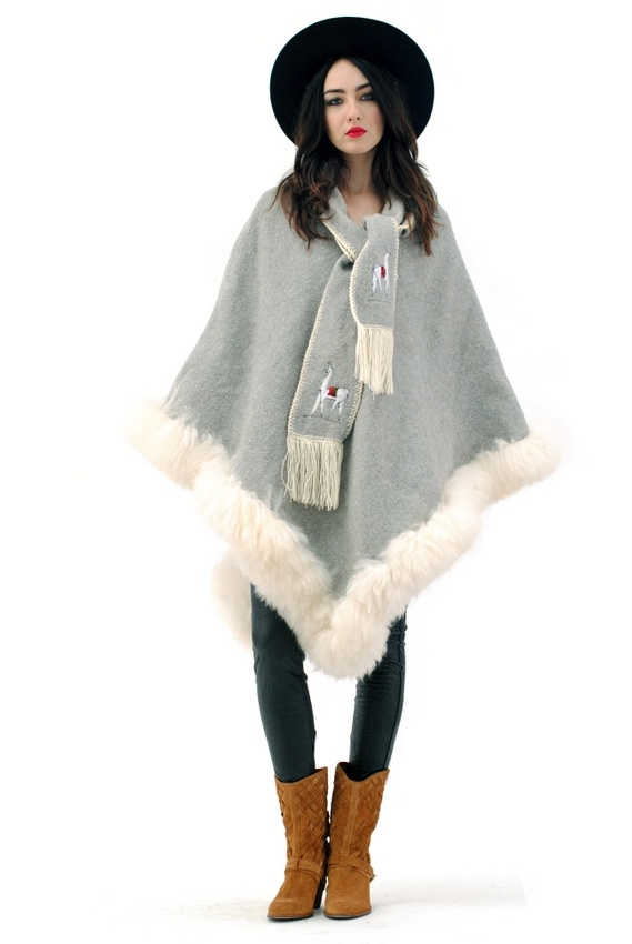 Peru Wool & Fur Poncho:: Ponchos Projects, Capes Ponchos, Ponchos Wraps, Pendleton Ponchos, Fur Ponchos
