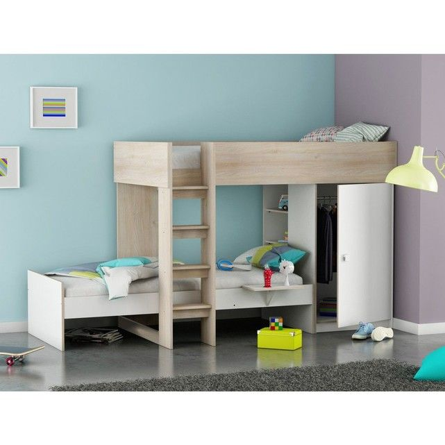 lit superpos blanc et acacia 90x200 chambre enfant pinterest lits superpos s blancs. Black Bedroom Furniture Sets. Home Design Ideas
