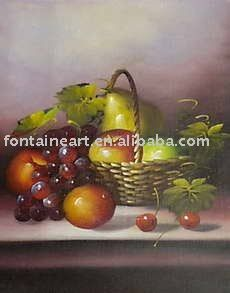 handmade still life oil painting,fruits,apple,grapes $81.68