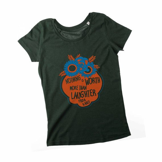 Frida Kahlo Quote Flower Frame Organic cotton artwear t-shirt by TeeOnTheRooftop | $28