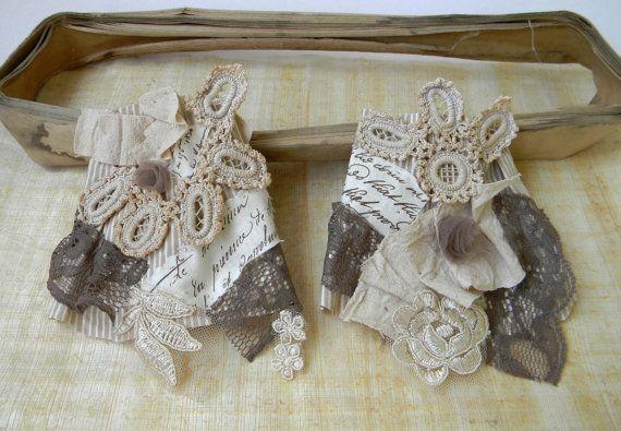 Victorian Wrist Cuffs Jane Austen Textile Cuffs by Elyseeart