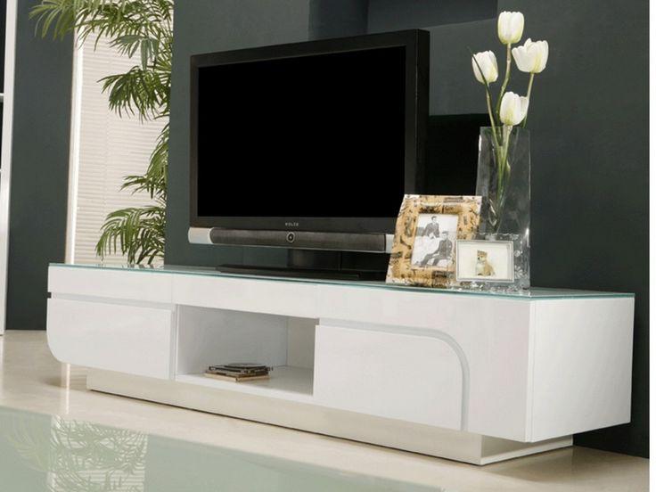 meuble tv brady en mdf laqu blanc et verre tremp 2 portes 1 niche prix - Meuble Tv Living Blanc Laque For You