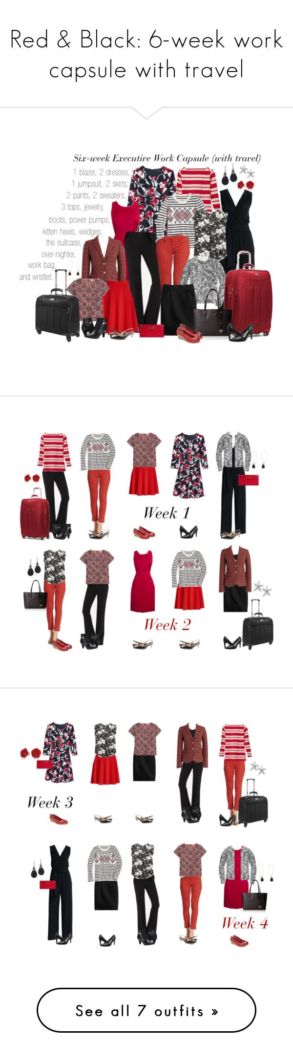 """""""Red & Black: 6-week work capsule with travel"""" by kristin727 on Polyvore featuring Canvas by Lands' End, J.Crew, Banana Republic, Samsonite, Naturalizer, Franco Sarto, Cole Haan and Kate Spade"""