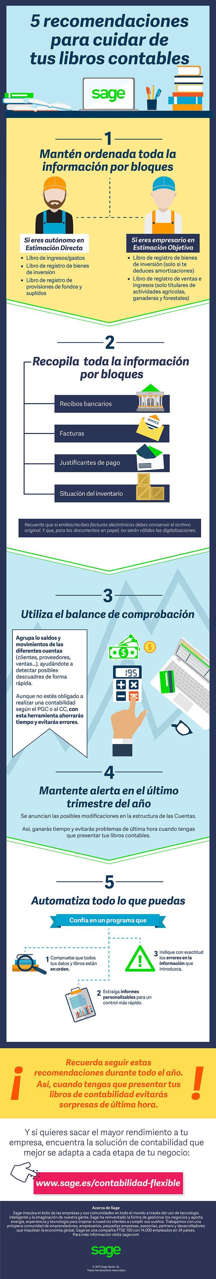 5 recomendaciones para cuidar tus libros contables #infografia