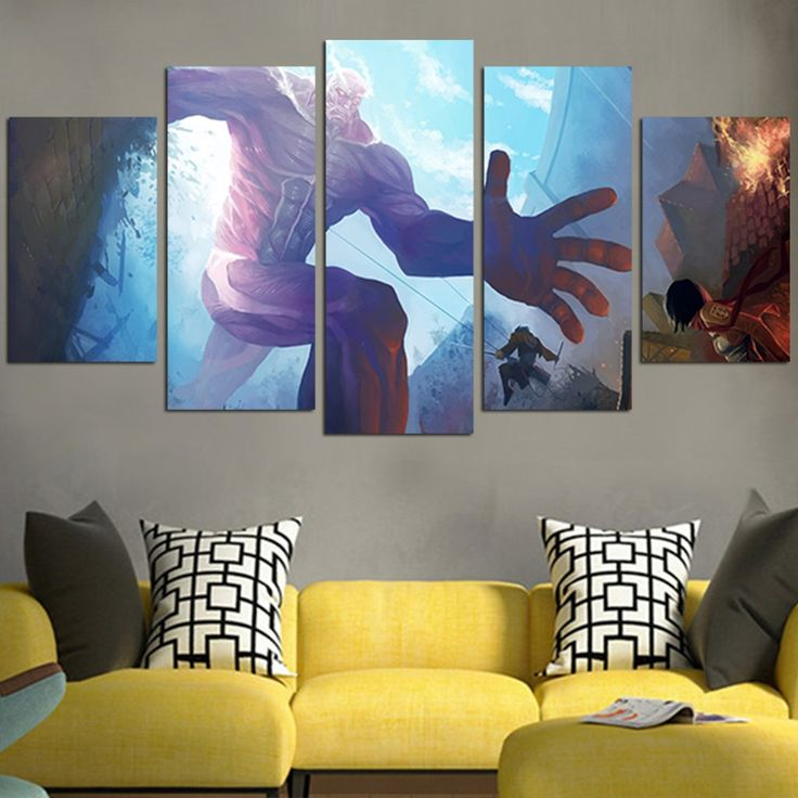 Attack on titan colossal titan wall art canvas canvas