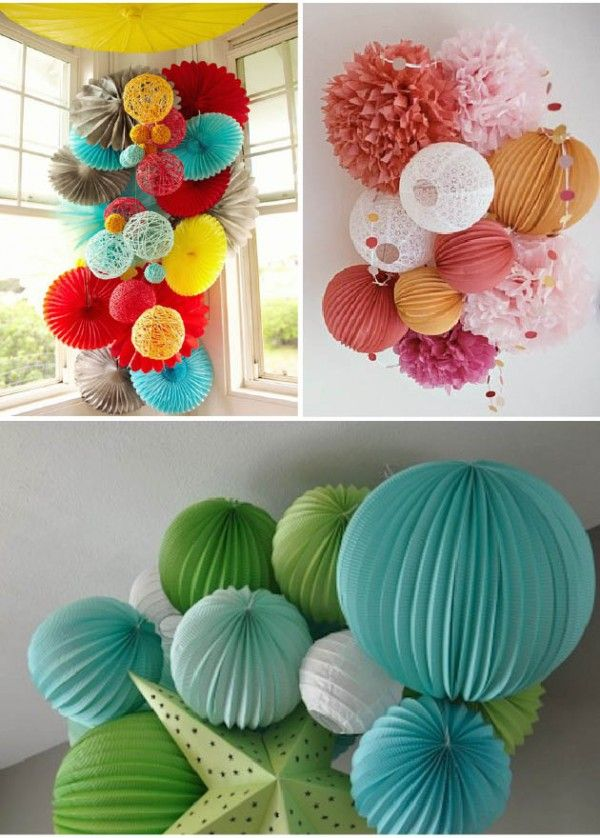 Decoracion para fiestas y bodas con farolillos de papel - Decoracion con pompones ...