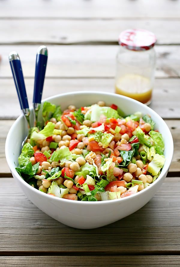 Chickpea Salad with a red wine vinaigrette.