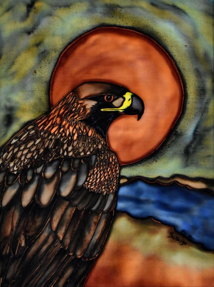 Golden Eagle silk painting, print available here: http://www.raebirdcreations.com/store/p160/Golden_Eagle_Sunrise_-_print.html