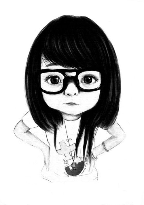 Illustration #girl #blackandwhite #glasses @Vanessa Romero  TE ENCONTRÉ!!! así córtate el pelo!!!! :D