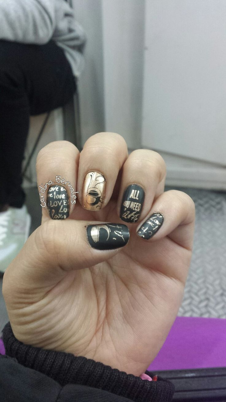 Nail arts coffe uñas cafe