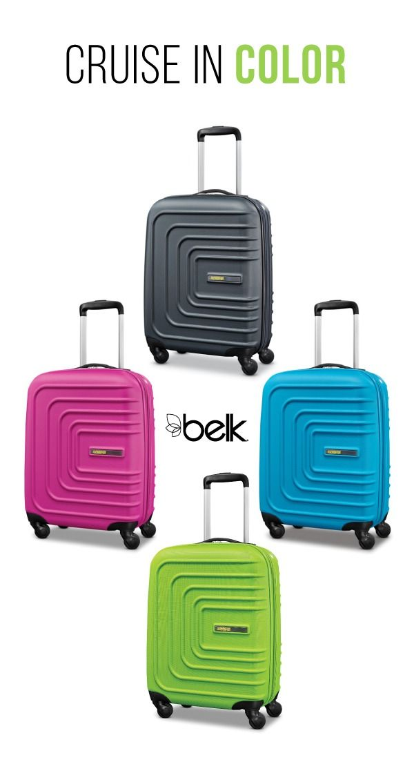 Travel in style on your next getaway with American Tourister's Sunset Cruise hardside luggage. These tough travelers cruise lightly through the terminal on spinners, and bright colors make it easy to spot your bag on the carousel. Shop luggage in stores or at belk.com.