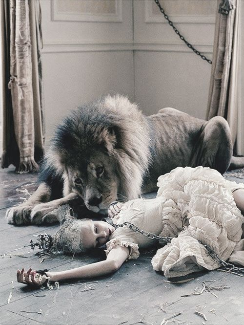 Atlas The Lion and Edie Campbell by Tim Walker