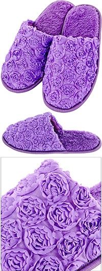 Purple Satin Rose Slippers at The Animal Rescue Site