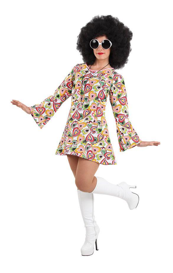 DisfracesMimo, disfraz de hippie colorido mujer talla. Con este traje volver�s a aquellos maravillosos a�os en los que primaba el lema paz y amor.Este disfraz es ideal para tus fiestas tem�ticas de disfraces de hippies y a�os 60,70 y 80 para adulto. fabricacion nacional