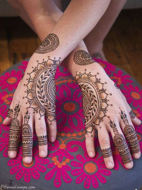 Two halves. Master Henna artist Darcy is available travel for your destination wedding events in California, Mexico, Central American and Europe. Henna Lounge makes and uses only 100% natural henna paste. Pricing begins at $125/hour. Contact her at 415-215-6901 or info@hennalounge.com. Indian Weddings Inspirations. http://pinterest.com/HennaLounge/