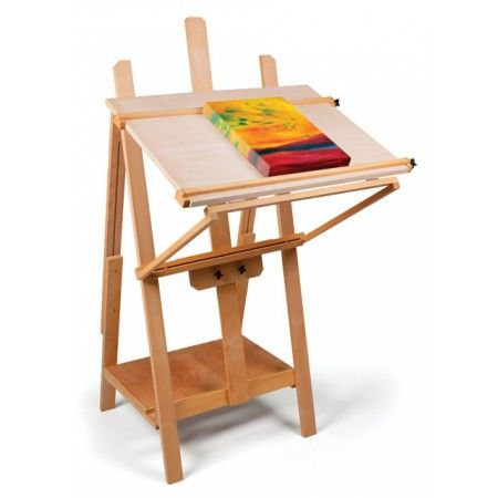 For watercolor or pastel painting, use the innovative front-folding table, which is easily set to any angle you desire. For traditional oil or acrylic painting, remove the table top to reveal a sturdy four-footed H-frame beech wood easel.