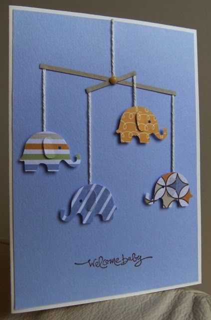 handmade card ... welcome baby ... cute elephant mobile with punched elephants ...