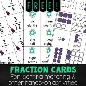 These free fraction cards can be used as math manipulatives in your math centers or workstations.