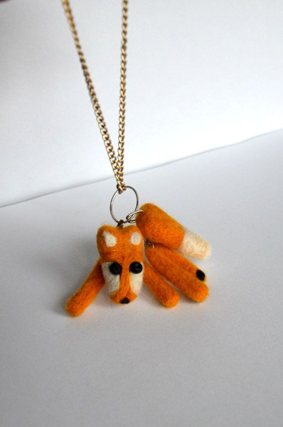 Fox Jewelry  Fox Necklace  Orange Necklace  Animal by KubuHandmade