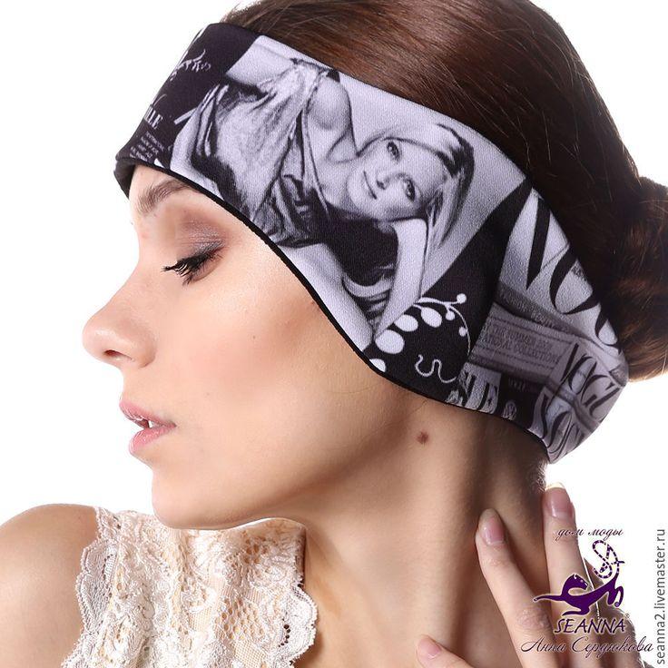 """Купить Полоска, повязка на голову утепленная двусторонняя на флисе """"Журналы"""" - повязка, полоска, полоска на голову"""