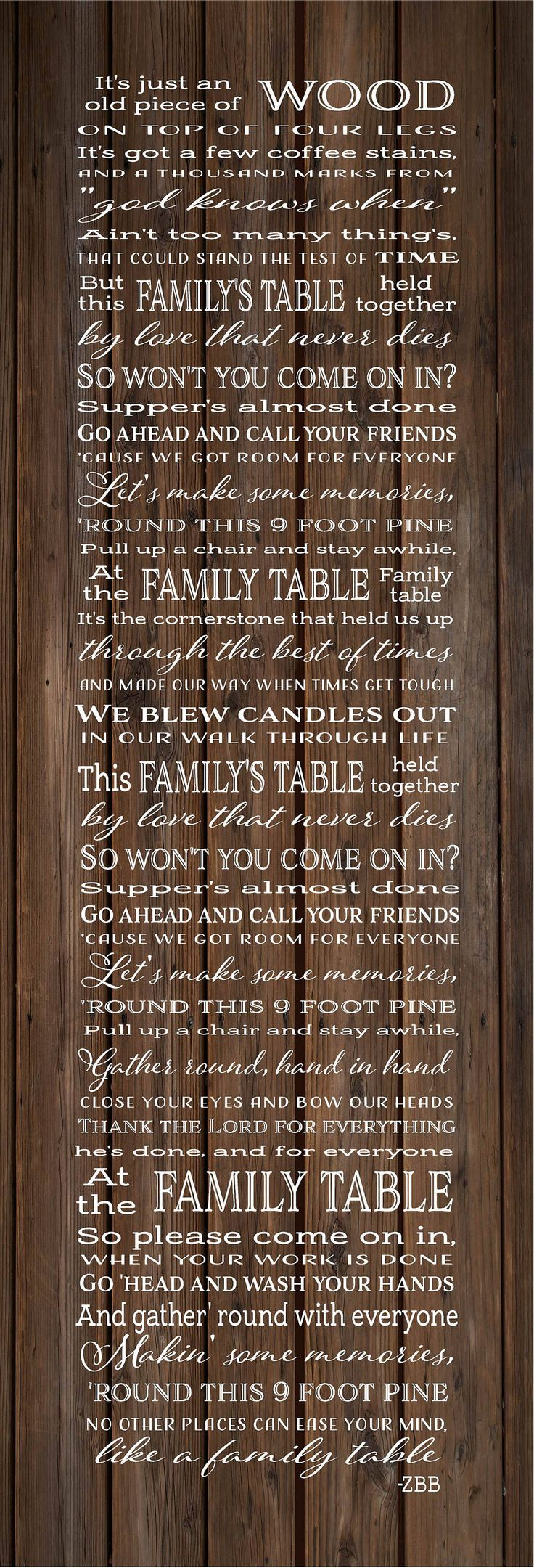 Family Table Lyrics Zac Brown Band Wood Sign, Canvas Wall Art - Christmas, Sympathy by HeartlandSigns on Etsy