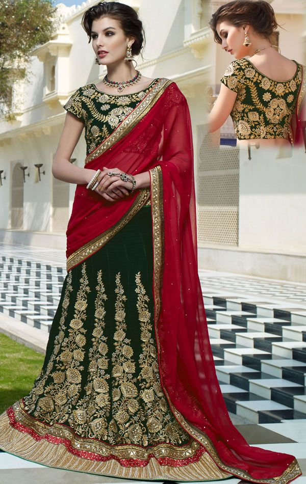 Delightful Deep Green Color Ready Made Lehenga Choli