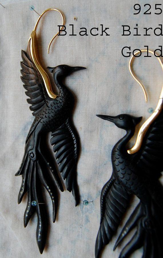 Black Bird Earrings by OpulentAntiquity on Etsy, $180.00