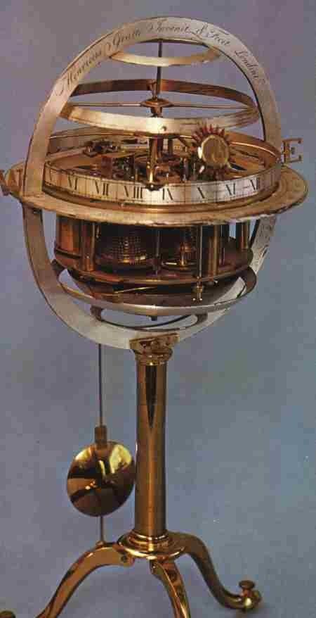This unusual 10 inch high spherical skeleton clock was made in about 1760.