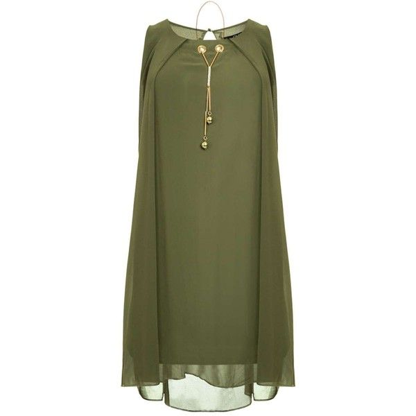 Dorothy Perkins *Quiz Khaki Chiffon Necklace Shift Dress ($45) ❤ liked on Polyvore featuring dresses, khaki, no sleeve dress, green sleeveless dress, khaki green dress, shift dress and green color dress